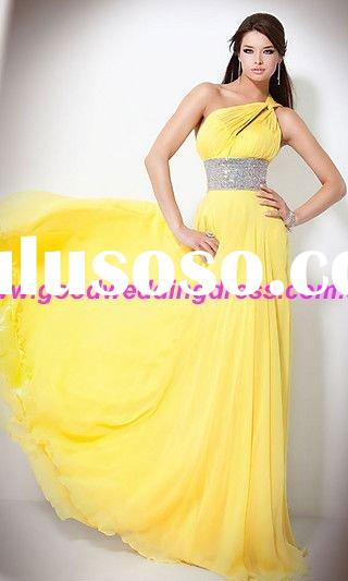 New Arrival Yellow One-Shouulder Sequin Long Prom Dresses 2011