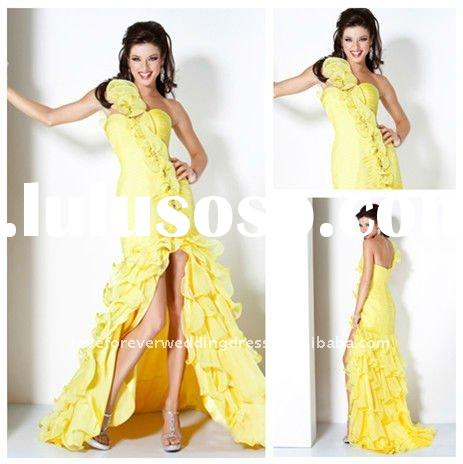 New One-shoulder Yellow Chiffon Mermaid Prom Dresses 2012