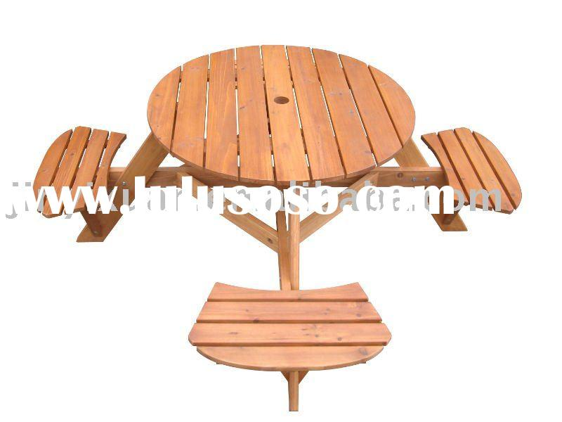 Round Wooden Picnic Table Chair Set