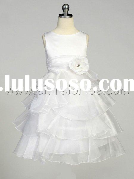 TMT1224 White Flower Girl Dress - Layered Organza