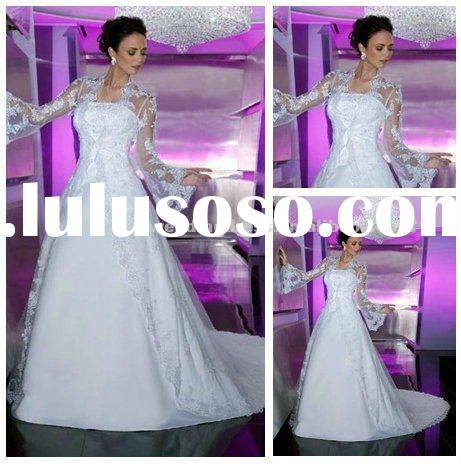 White Satin Organza Wedding Dresses with Long Sleeves