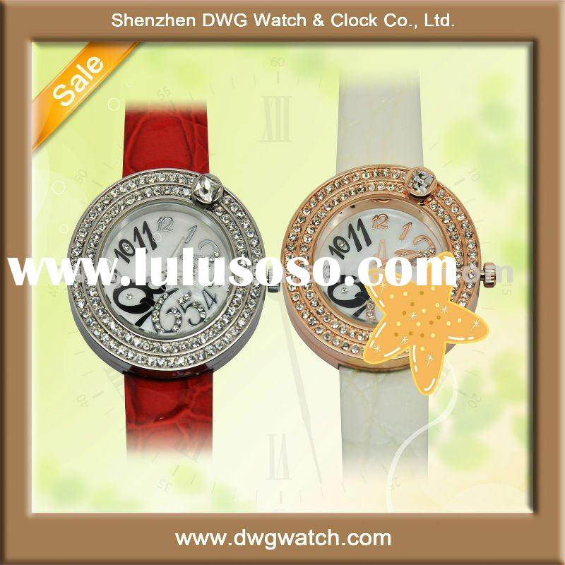 Wholesale Alloy case watches with PU leather strap and crystal dial DWG-L0003