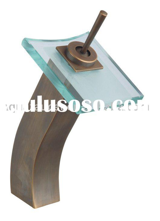 antique square glass waterfall basin mixer tap,basin mixer faucet,glass waterfall faucet