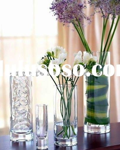 clear tall glass cylinder vase for flower decoration