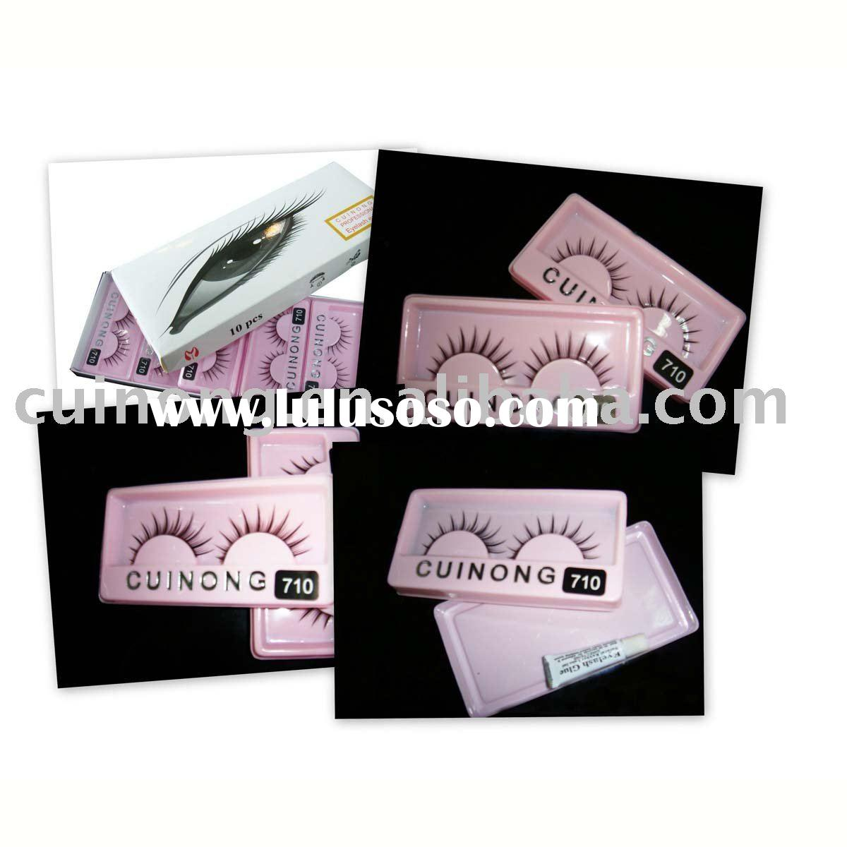 false eyelashes for cheap with glue El-710 hand made human hair