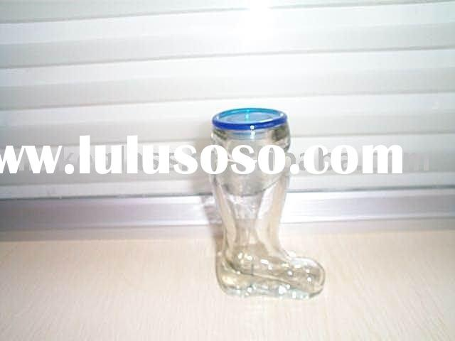 foot-shaped glass beer cup with plastic lid/glass container