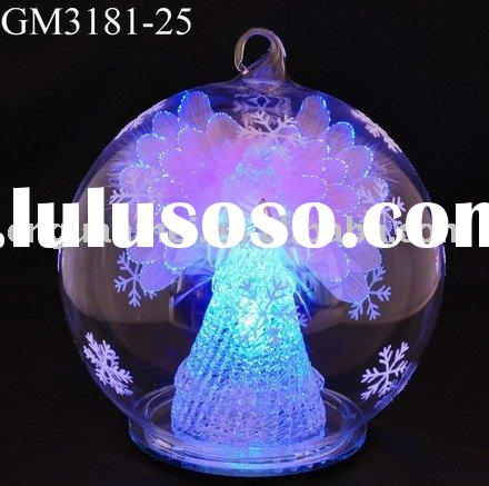 glass art fiber optical snow globe christmas indoor decoration with LED light