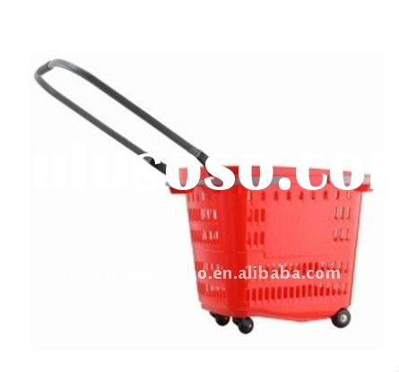plastic laundry basket shopping basket with wheels