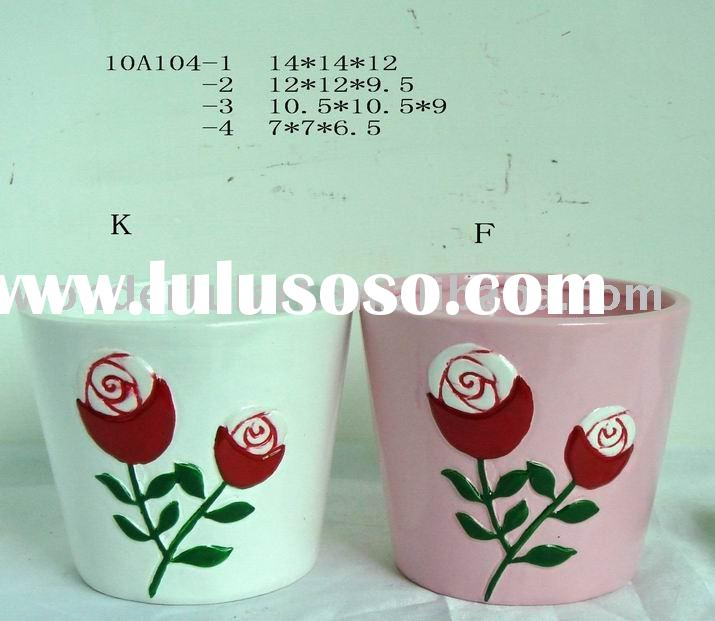pretty ceramic rose round flower pot