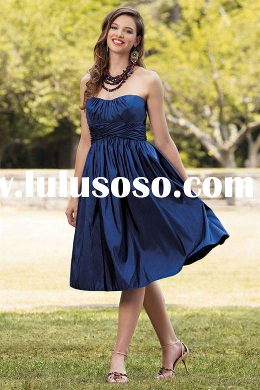 ruffles backless strapless knee-length maid of honor dress