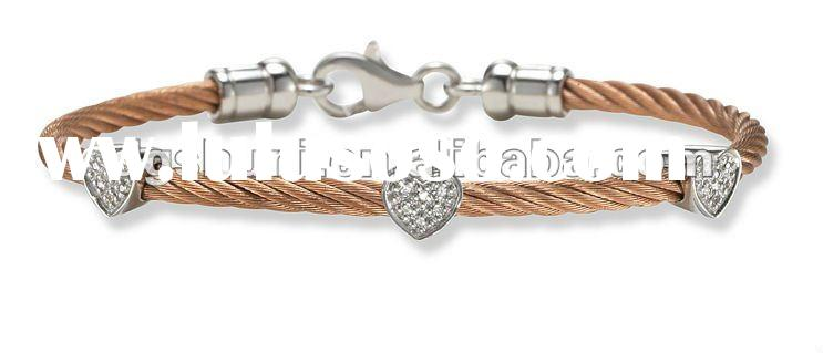 stainless steel cable wire bracelet with crystal heart