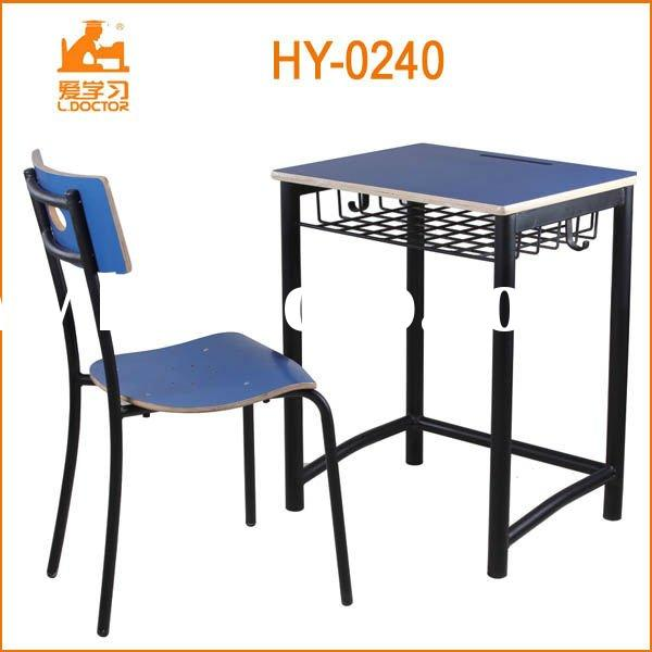 wood-steel structure school furniture of table and chair