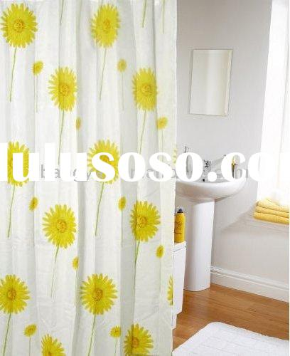 Pale Yellow Gray Shower Curtain