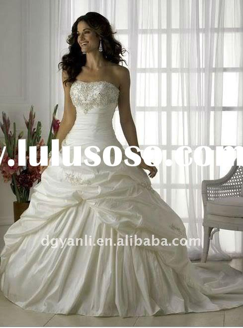 2011 hot sale popular vintage strapless Ball Gown white taffeta beaded designer wedding dress 00231