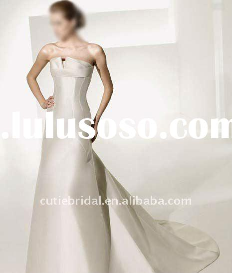 Line satin wedding dresses white line satin wedding for Very cheap wedding dress
