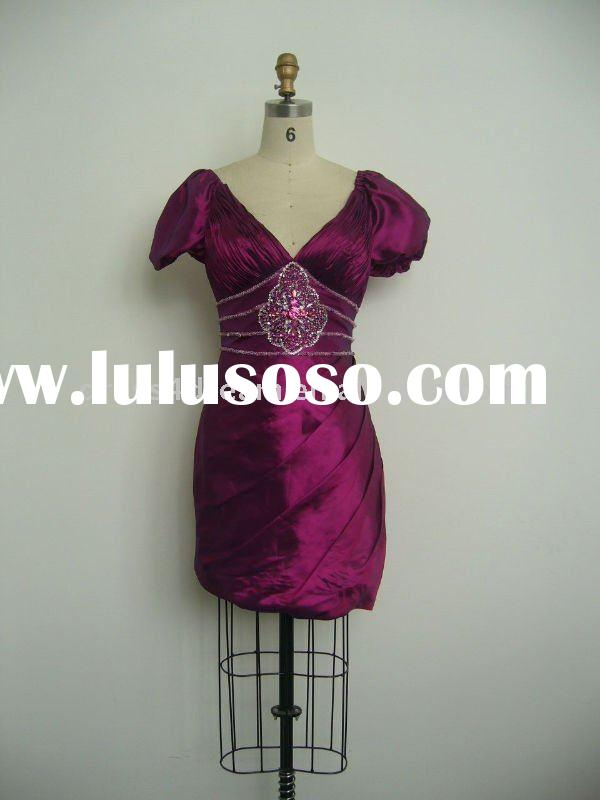 2012 the latest design beaed formal office dresses for women with pleating