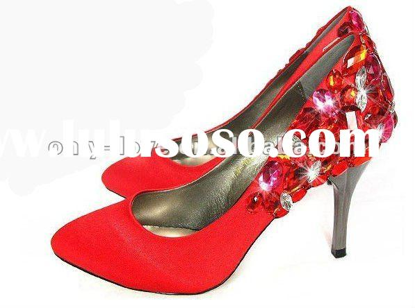BS075 fashion women's red bridal wedding shoes with back crystals