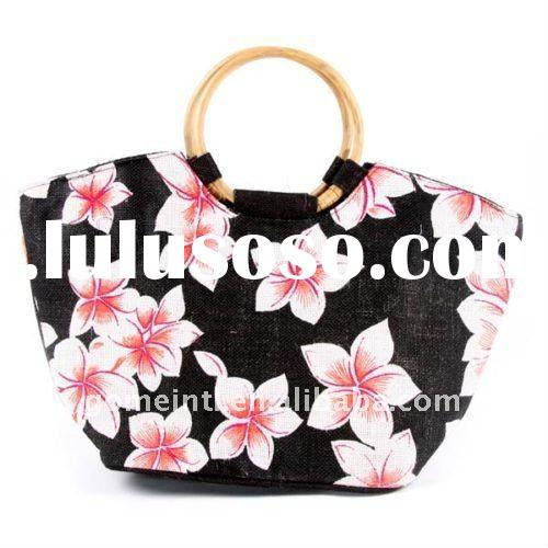 Floral Jute Shopping / Beach Bag with Wooden Handles