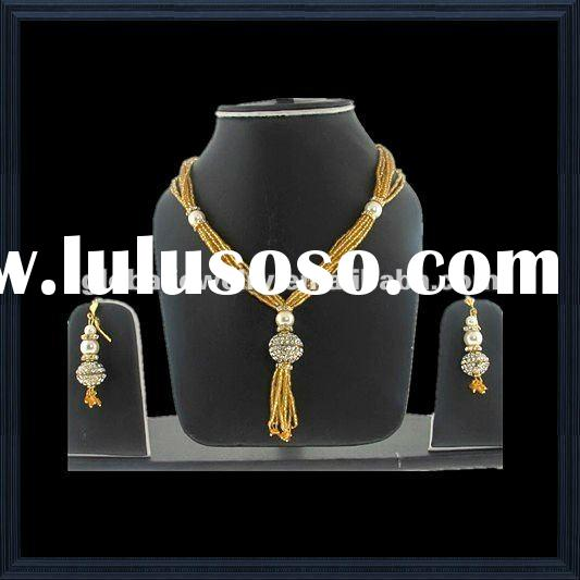 Graceful & charmful polki jewelry set India bridal jewelry sets african gold plating jewelry set