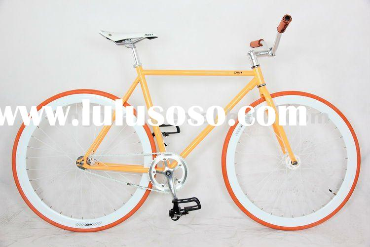 HH-FG1162 Yellow fixed gear bike with colored frame and tyre