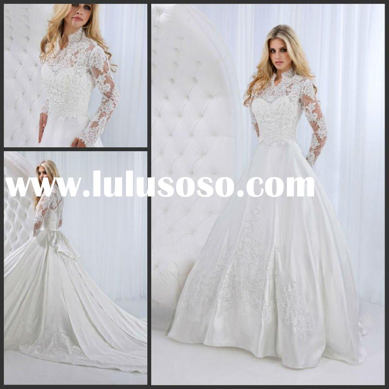 High Neck WD-662 long sleeve lace wedding dresses 2012 Wedding Dress Wedding Gown