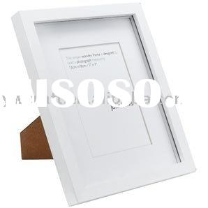 Home decoration white wooden frame wooden table top photo frame