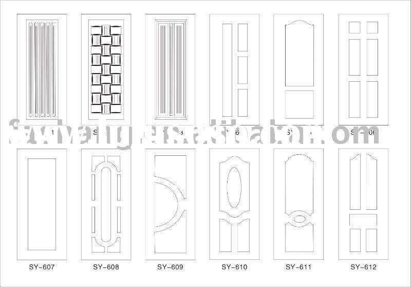 Melamine door skin! Main indoor door design! Moulded door skin!MDF door sheet!