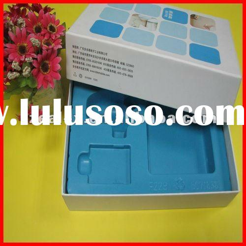 Mobile phone box packaging design with plastic tray