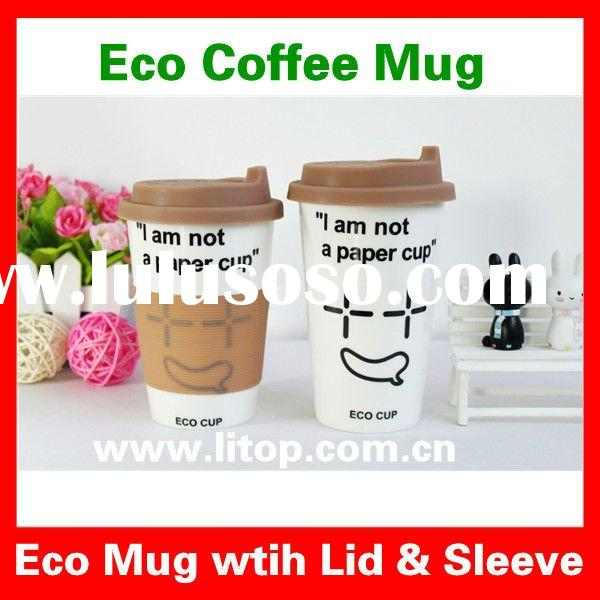 Personalized Eco Friendly Ceramic Coffee Mugs Travel Mug Cup Customized Mugs with Silicon Lid &