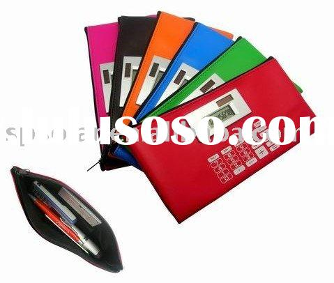 ST4003 leather pencil case solar calculators for promotion gifts