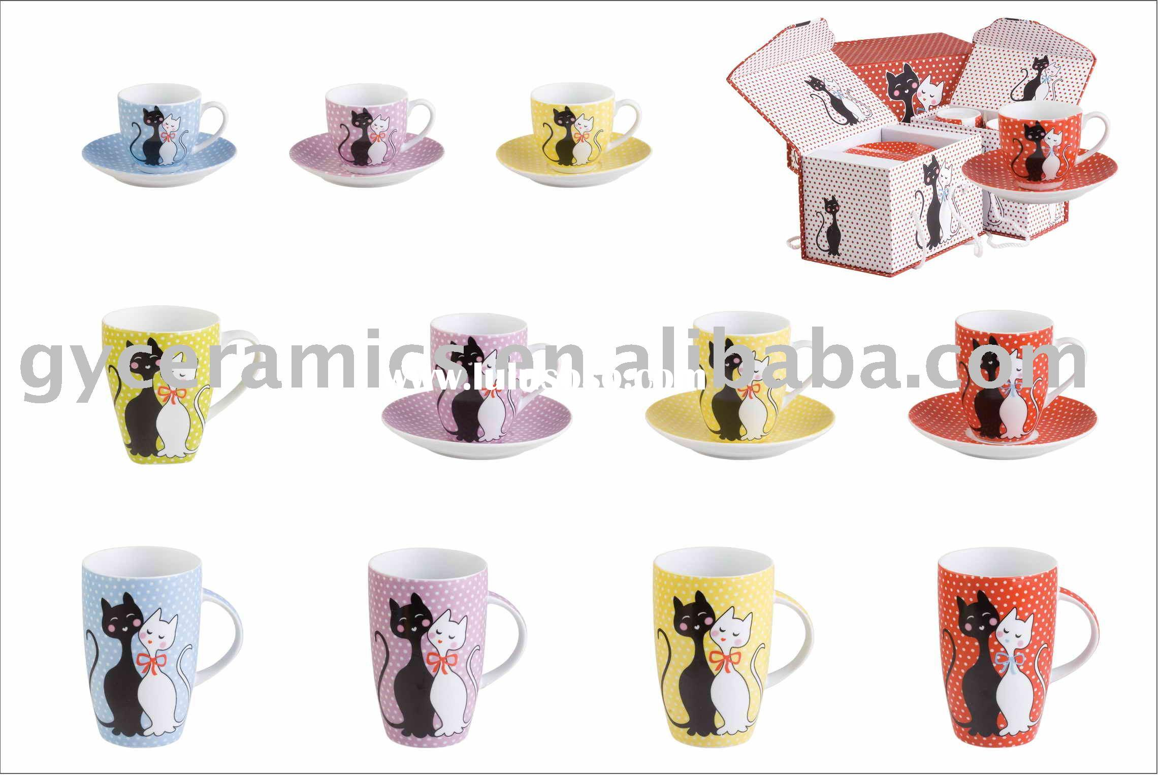 S/6 coffee/tea cup and saucer, S/2 mugs in gift box