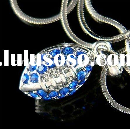 Wholesale fashion costume jewelry 2012 sparkling blue rhinestone crystal 3D American football charm