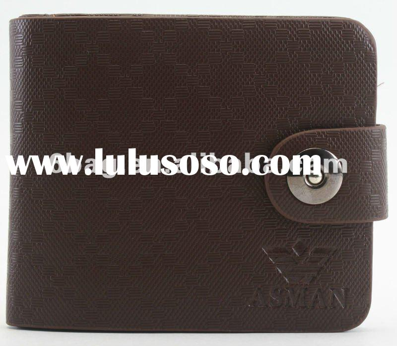 $$$1.5-2 high quality 2012 snap button enclosure shiny PU card holder wholesale wallet for men