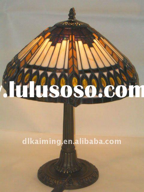 bamboo pattern shade stained glass tiffany table lamp