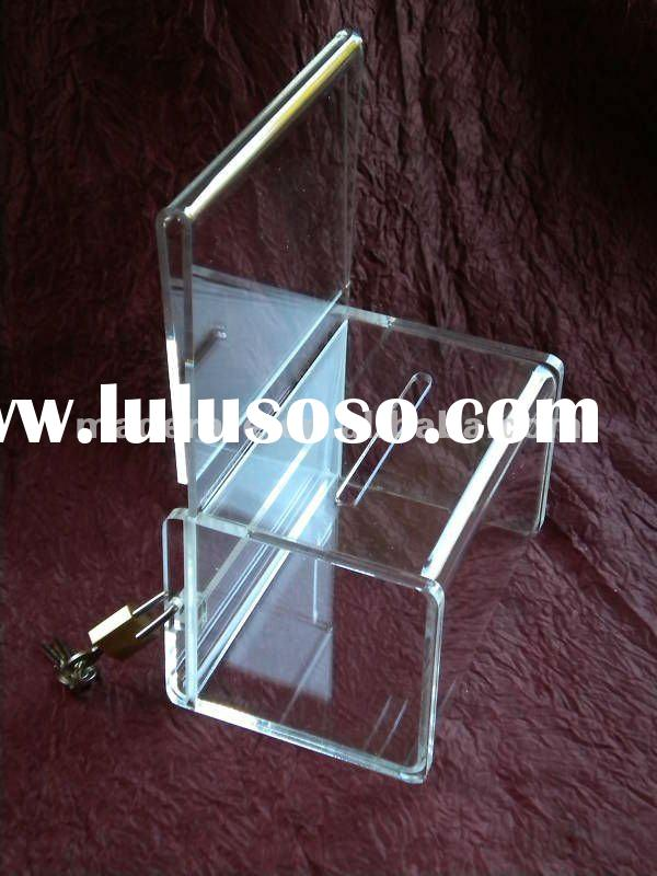 lock design acrylic ballot box with sign