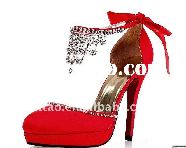 Red Crystal Wedding Shoes Platform With Diamond
