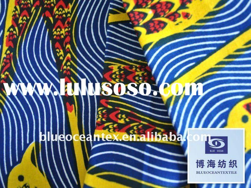 100% Cotton African Wax Prints Fabric Printed Canvas 32/2X16/96X48 210GSM 6OZ Cotton Fabric Factory