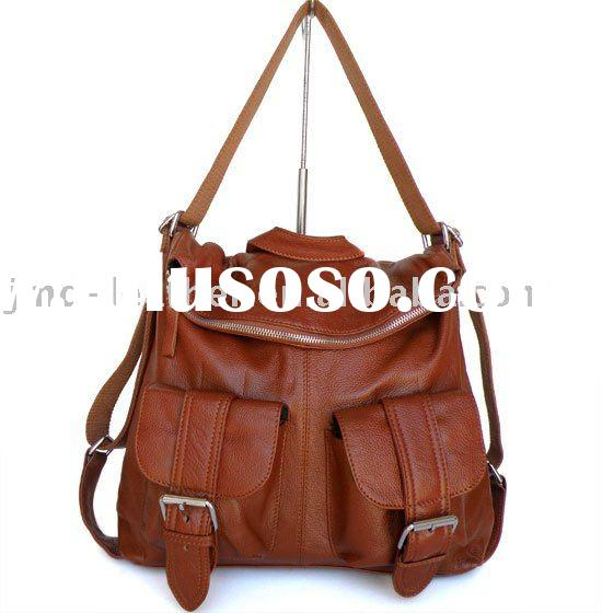 100% Leather Brown Trendy Sling Messenger Backpack Bag