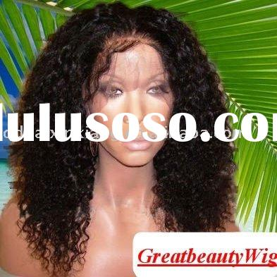18 inch Indian remy hair Afro wave full lace wigs with baby hair for black women