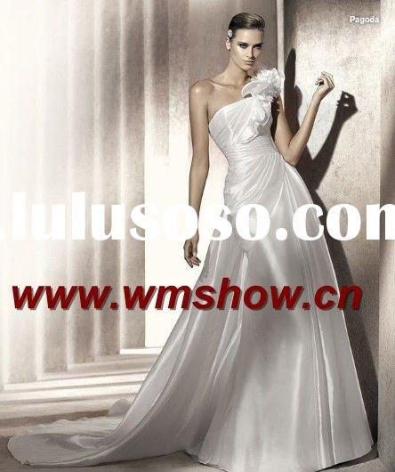 2011 Latest Style Beautiful Hot Sale One-Shoulder Indian Bridal Wedding Dress