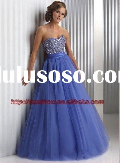 2011 New Style Strapless Diamond Beaded Ball Gown Organza Evening Dress
