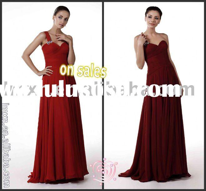 2011 free shipping one-shoulder dark red chiffon long evening dress