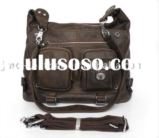 3094R Dark Brown Genuine Vintage Leather Lady Backpack Messenger Bag 4 Use