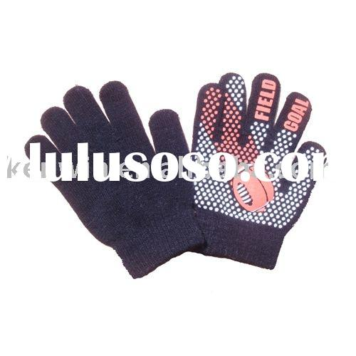 Acrylic knit gloves with PVC dotted on palm