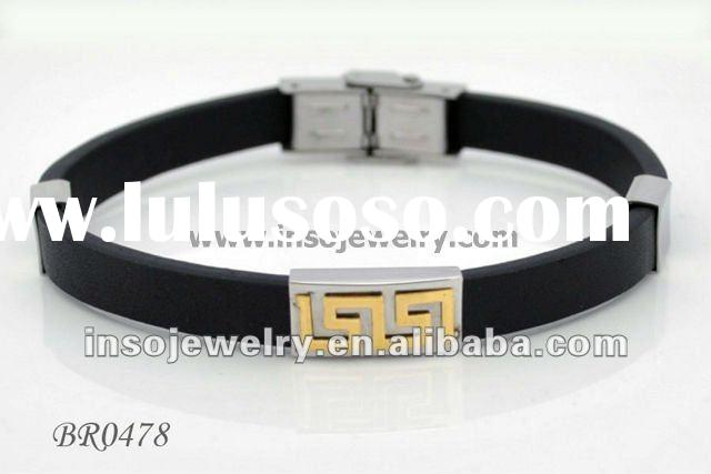 BR0478 Men's bracelet with leather band and stainless steel plate
