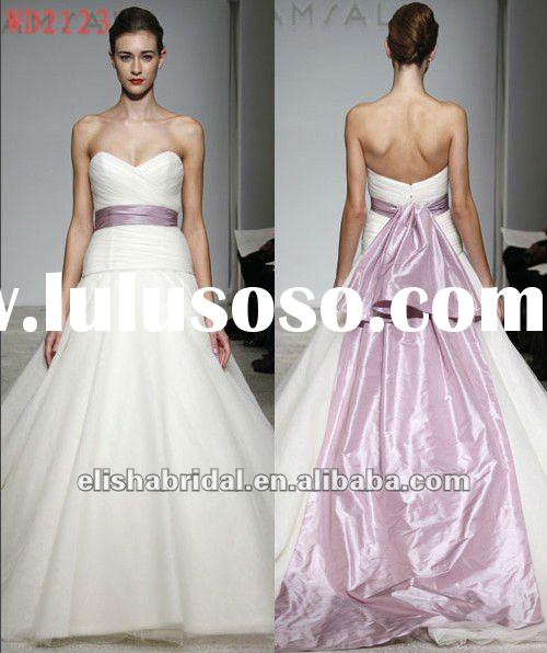 Big Skirt Ball Gown Sweetheart Ruched Droped Bodice Organza Purple And White Wedding Dresses