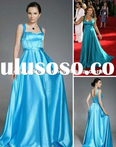 Elegant Gown Vanessa Williams A-line Straps Sweep/ Brush Train Satin Emmy/ Evening Dress Celebrity D