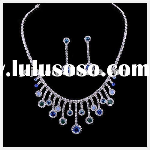 Fashion indian sapphire diamond bridal jewelry necklace sets