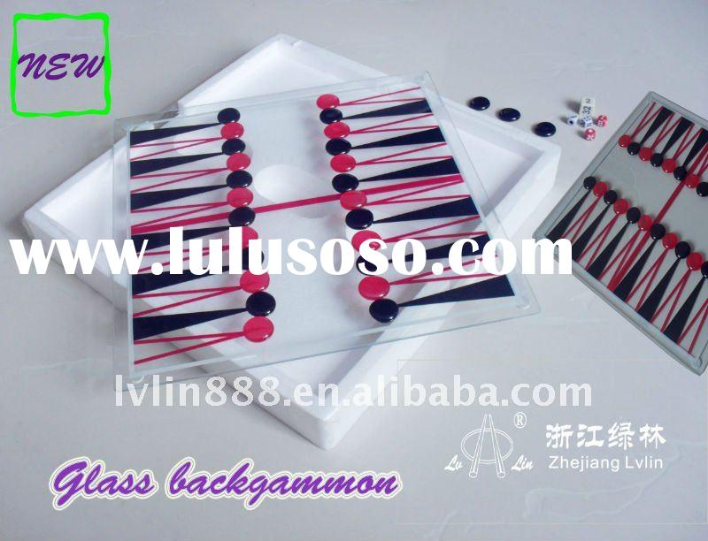 Glass backgammon chess game set