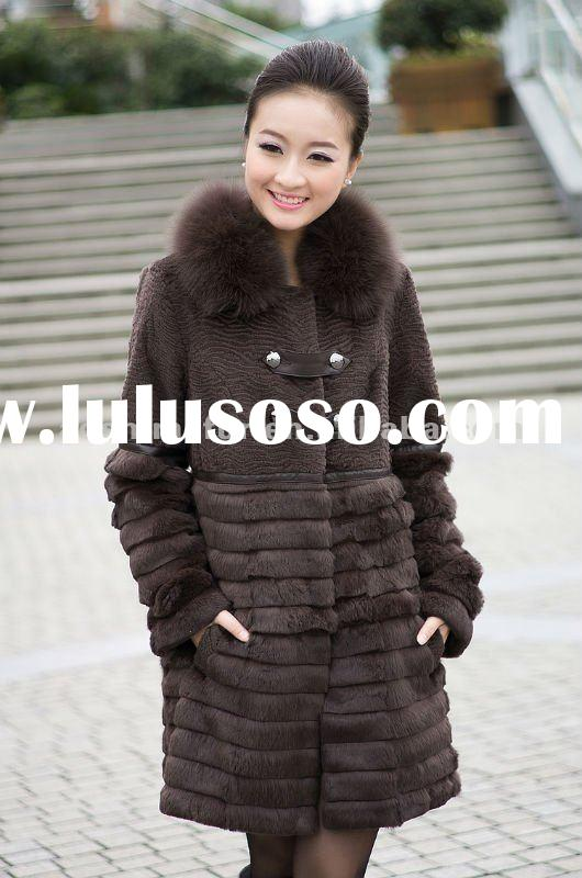 High fashion design women rex rabbit fur coat, ladies' fur garment with fox collar.
